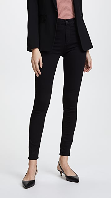 AG Superior Stretch Farrah High Rise Jeans - Super Black