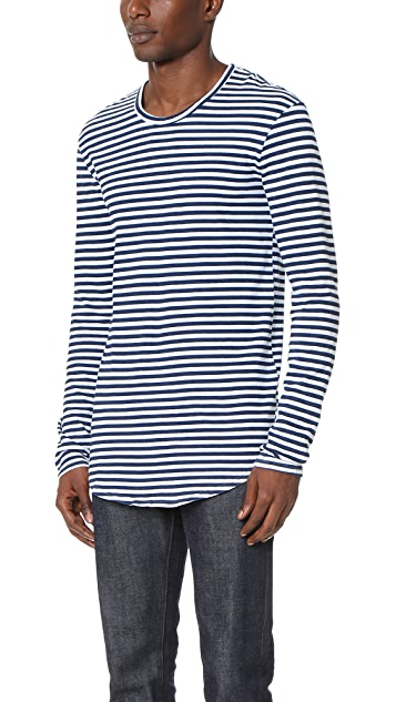AG Salinon Striped Raw Hem Long Sleeve Tee