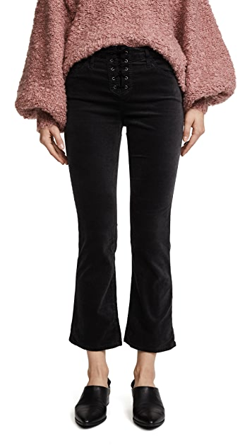 AG The Jodi Lace Up Crop Velvet Jeans