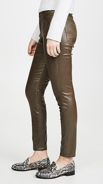 AG Винтажные джинсы-скинни до щиколотки из искусственной кожи