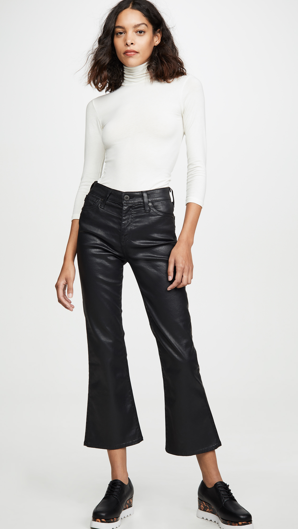 AG The Quinne Leatherette Light Cropped Jeans