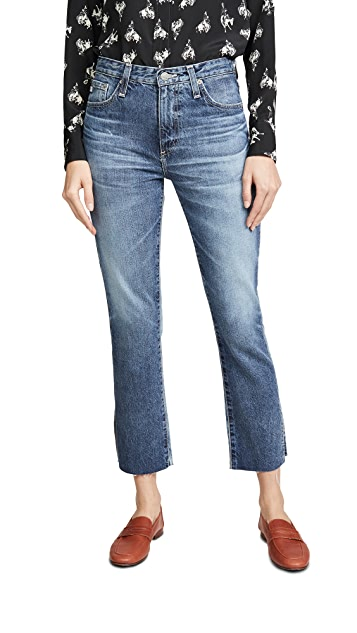 AG The Isabelle High-Rise Straight Crop Jeans