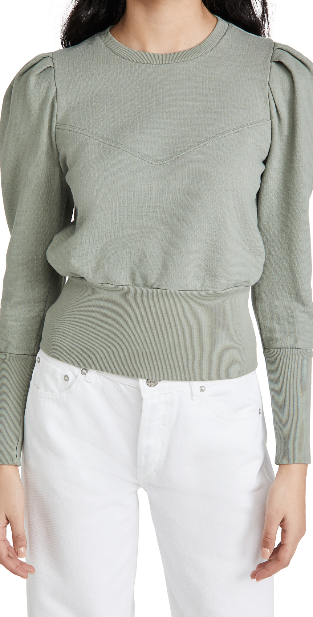 Ag SEAM WALKER PUFF SLEEVE SWEATSHIRT WITH YOKE