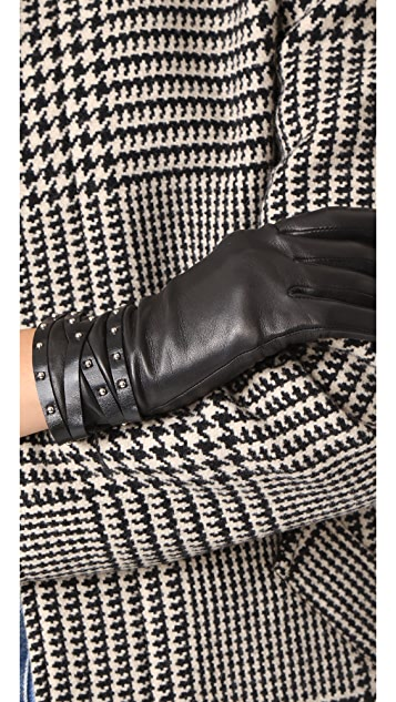 Agnelle Clou Rock Leather Gloves