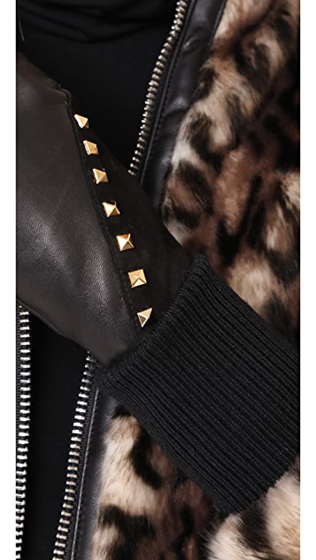 Agnelle Coralie Stud Leather Gloves