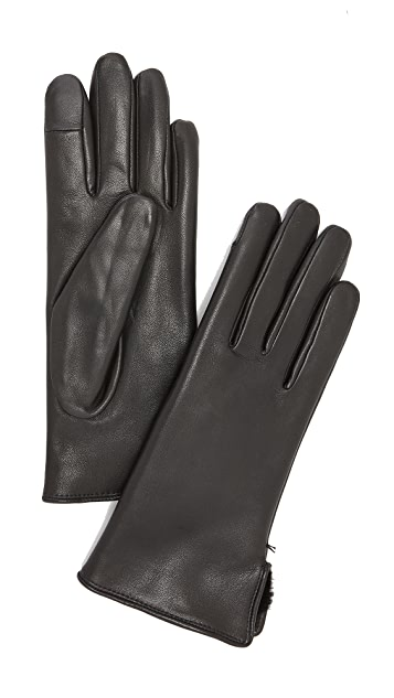 Agnelle Lapin Leather Fur Lined Gloves