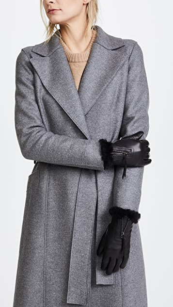 Agnelle Marina Leather Fur Texting Gloves
