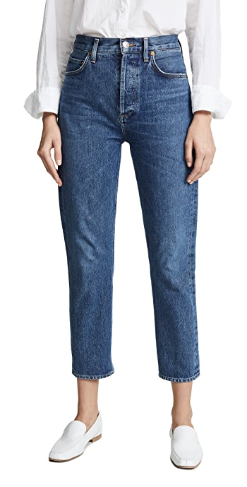 AGOLDE Riley High Rise Straight Crop Jeans - Air Blue