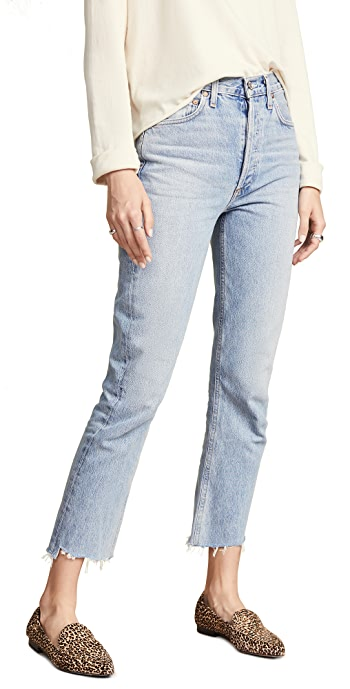 AGOLDE Riley High Rise Straight Crop Jeans - Zephyr Wash