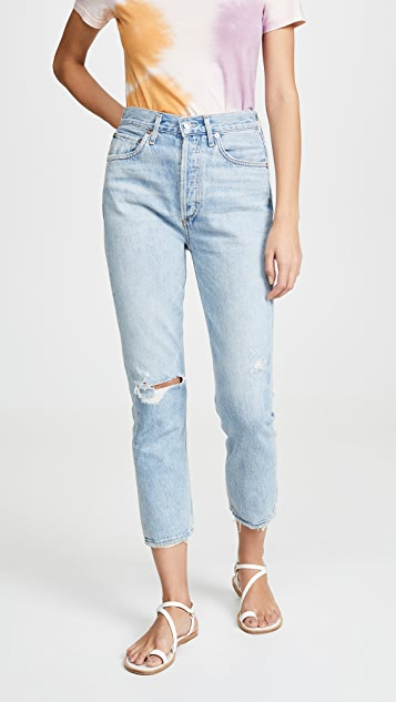 AGOLDE Riley High Rise Straight Crop Jeans - Shatter