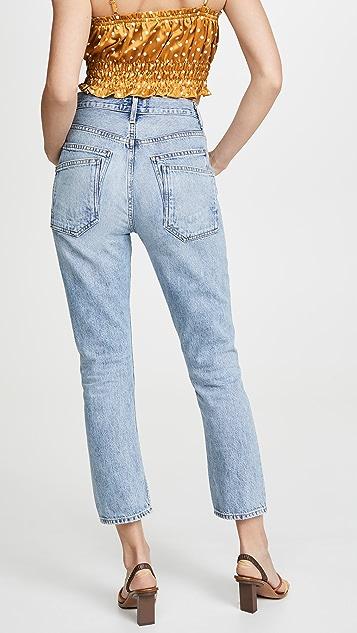 AGOLDE Укороченные джинсы Double Riley с высокой посадкой