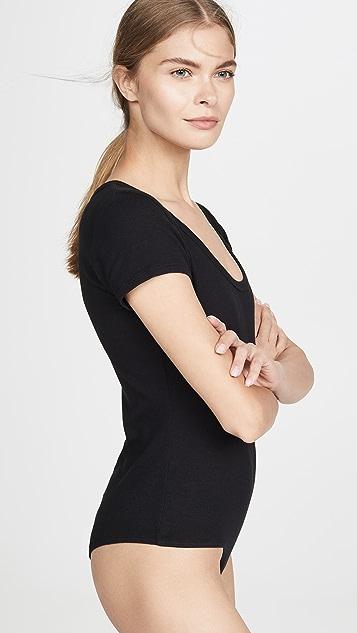AGOLDE Short Sleeve Rib Thong Back Bodysuit