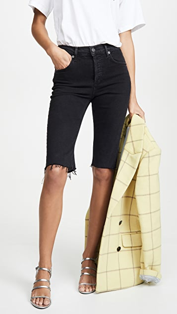 Agolde Shorts Carrie Long Length Slim Shorts