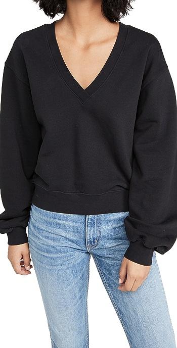 AGOLDE V Neck Balloon Sleeve Sweatshirt - Black
