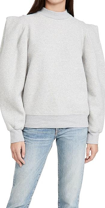 AGOLDE Folded Sleeve Sweatshirt - Grey Heather