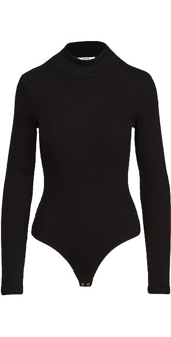 AGOLDE Mock Neck Long Sleeve Thong Bodysuit - Black