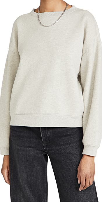 AGOLDE Nolan Drop Shoulder Sweatshirt - Grey Heather