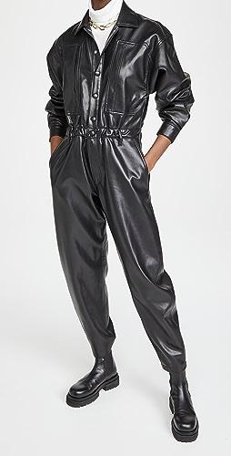AGOLDE - 人造皮 80 年代复古风格系腰连身衣