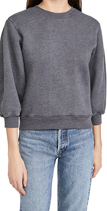 AGOLDE Thora 3/4 Sleeve Sweatshirt - Graphite Heather
