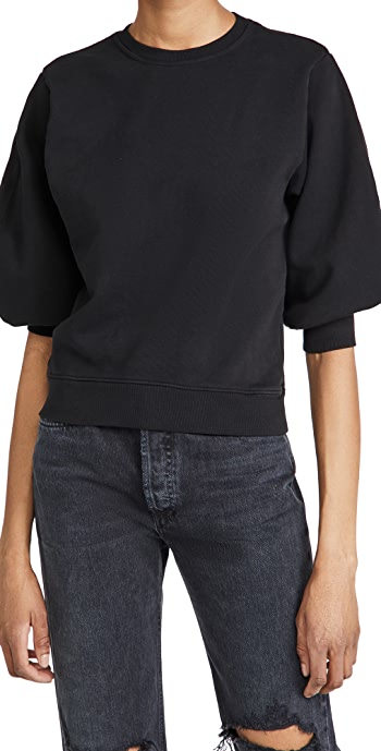 AGOLDE Thora 3/4 Sleeve Sweatshirt - Black