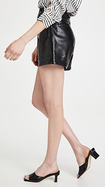 AGOLDE Leather Angled Hem High Rise Shorts