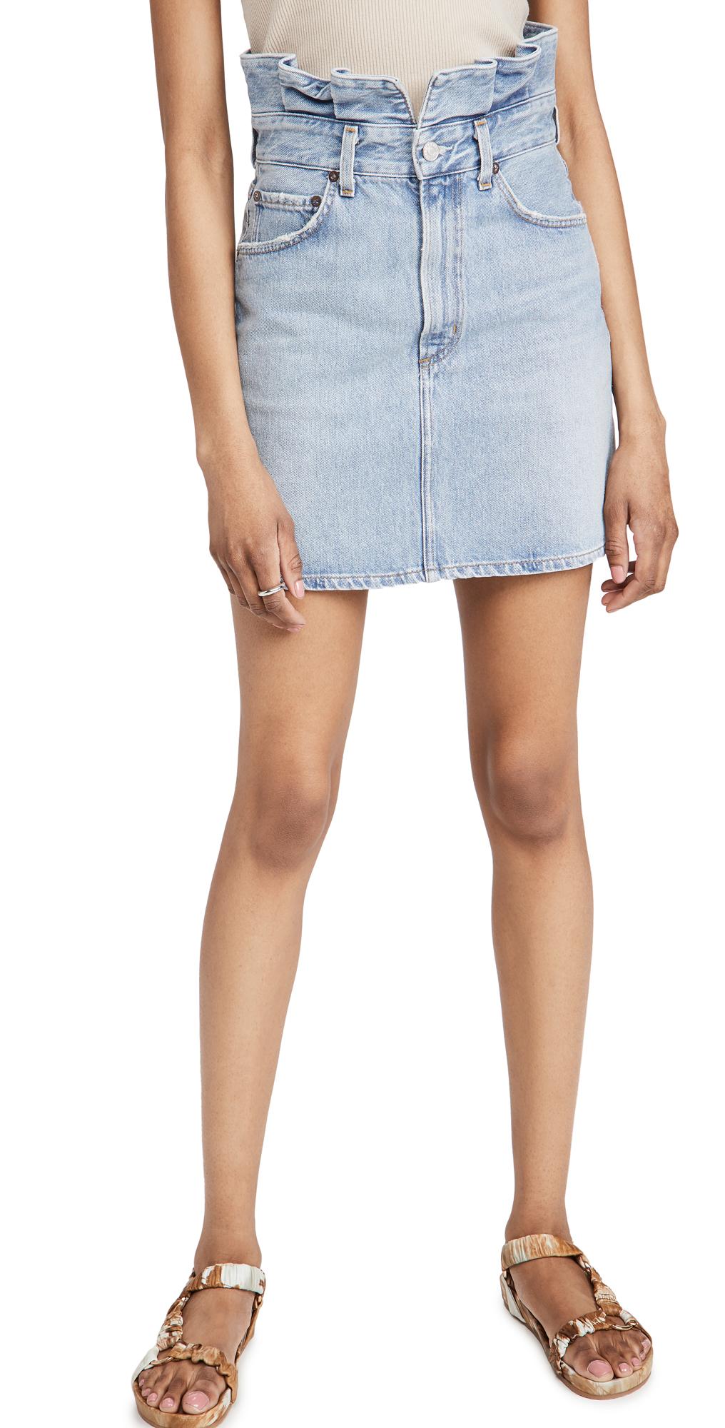 AGOLDE Lettuce Waistband Reworked High Rise Skirt