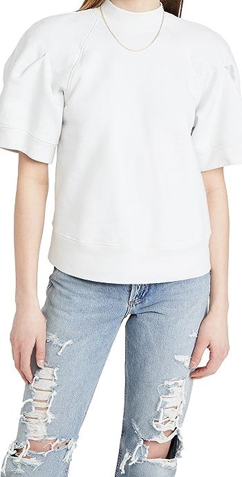 AGOLDE The Round Shoulder Half Sleeve Box Sweatshirt - Paper Mach Heather