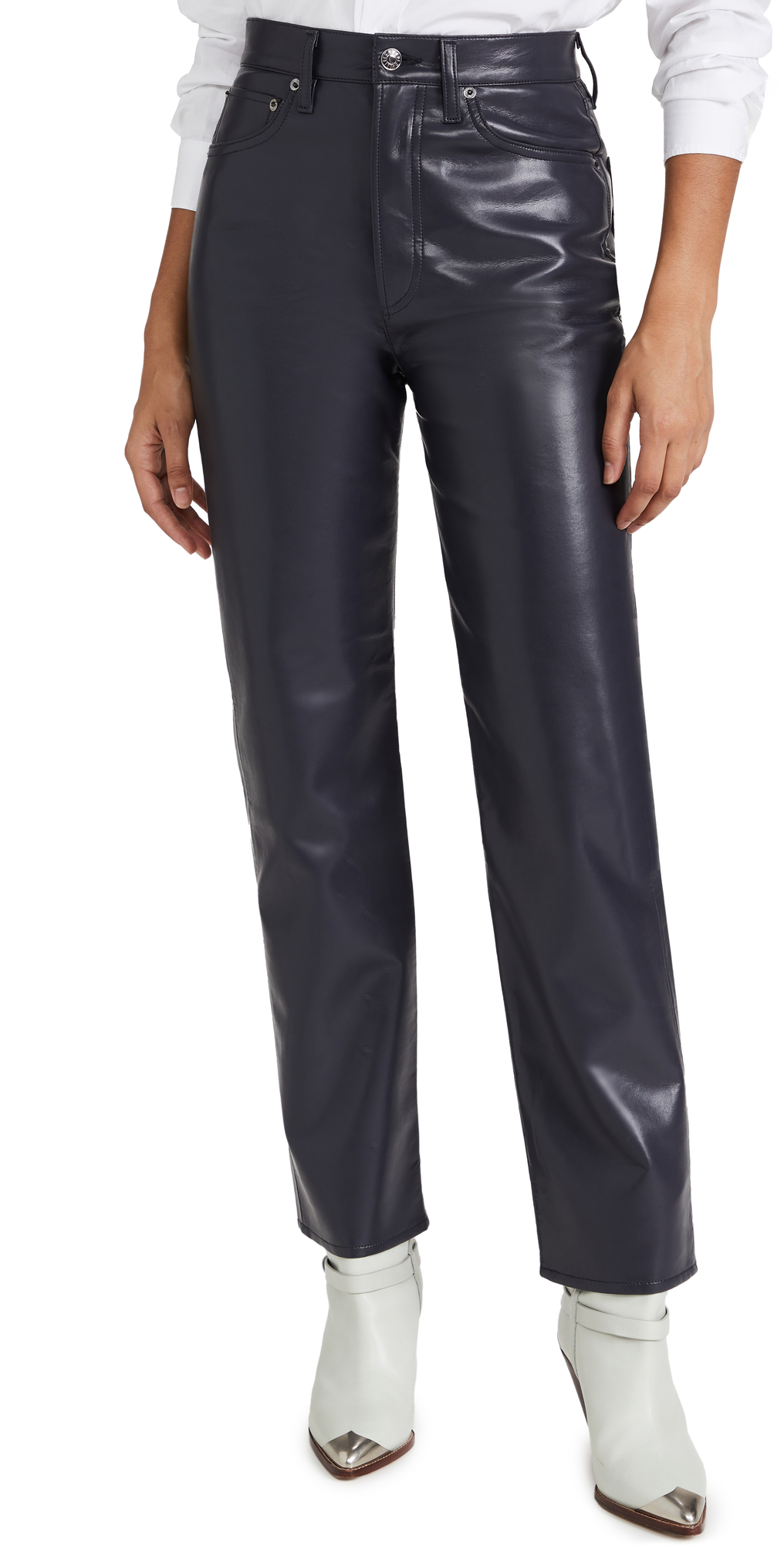AGOLDE Recycled Leather 90'S Pinch Waist: High Rise Straight Jeans