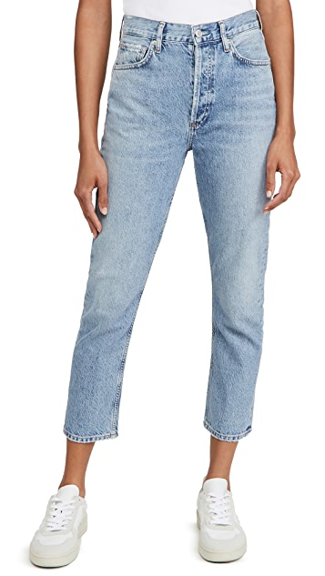 AGOLDE High Rise Straight Riley Crop Jeans