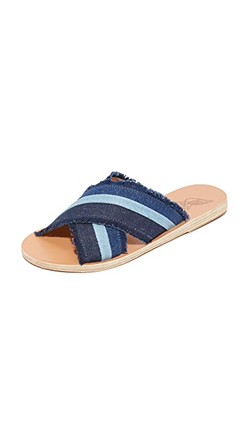 Ancient Greek Sandals Thais Denim Slides