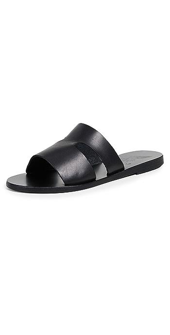 Ancient Greek Sandals Apteros Slides - Black