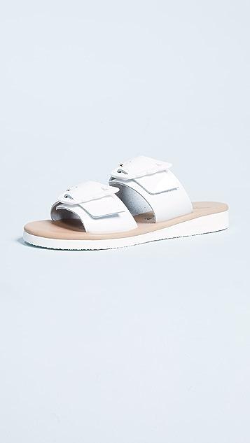 Ancient Greek Sandals Iaso Buckle Slide - White