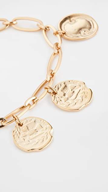 Ancient Greek Sandals Oval Chain Coin Anklet