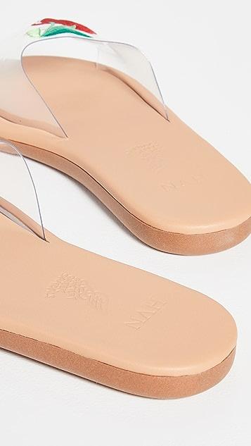Ancient Greek Sandals x HVN Taygete Clear Cherry Slides