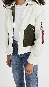 알파 인더스트리 뽀글이 자켓 Alpha Industries Cropped Sherpa Utility Jacket,Light Cream