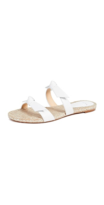 Alexandre Birman Clarita Braided Flat Sandals - White/Natural