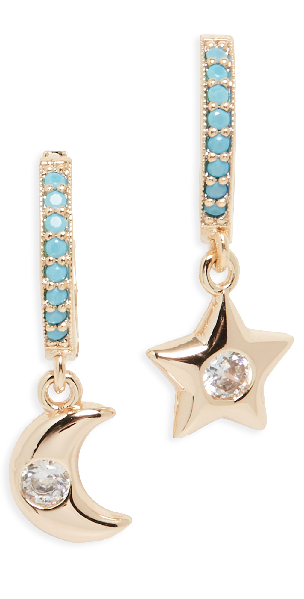 Alexa Leigh Huggies With Moon And Star Charms In Yellow Gold