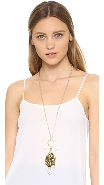 Alexis Bittar Faceted Rock Crystal Pendant Necklace