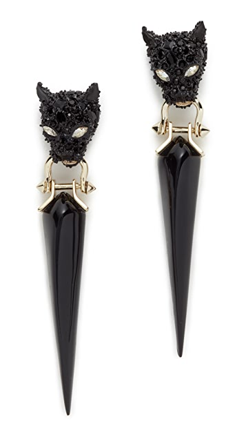 Alexis Bittar Crystal Encrusted Dangling Panther Earrings