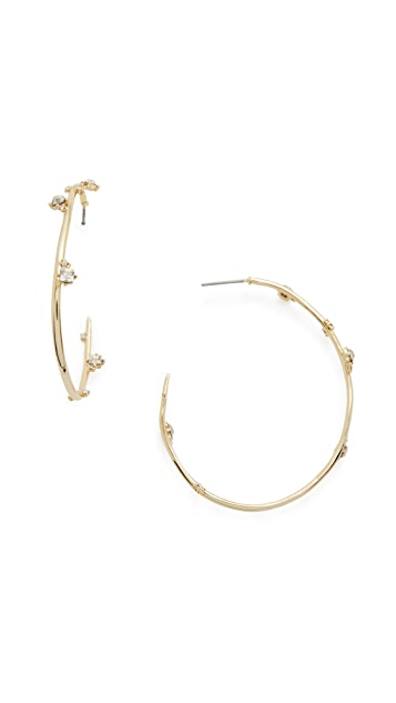 Alexis Bittar Jagged Crystal Studded Hoop Earrings