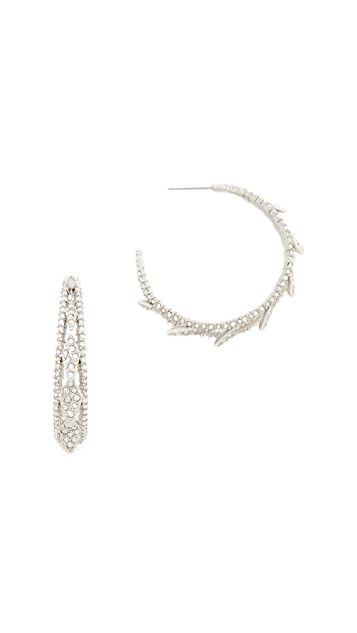 Alexis Bittar Crystal Encrusted Spiked Lattice Hoop Earrings