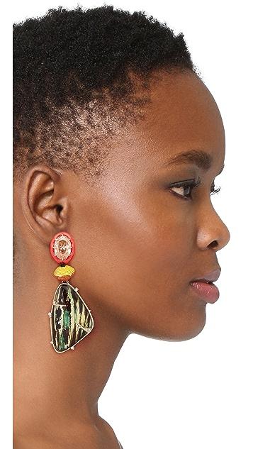 Alexis Bittar Dangling Woodgrain Earrings