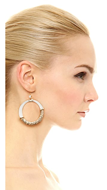 Alexis Bittar Woven Raffia Hoop Earrings