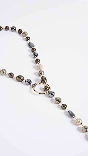 Alexis Bittar Baroque Pearl and Pave Ball Lariat Necklace