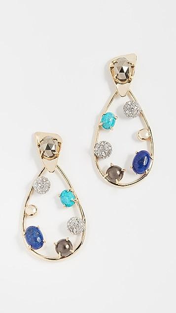 Alexis Bittar Multi Stone Teardrop Earrings