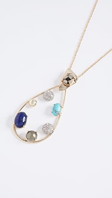 Alexis Bittar Multi Stone Teardrop Pendant Necklace