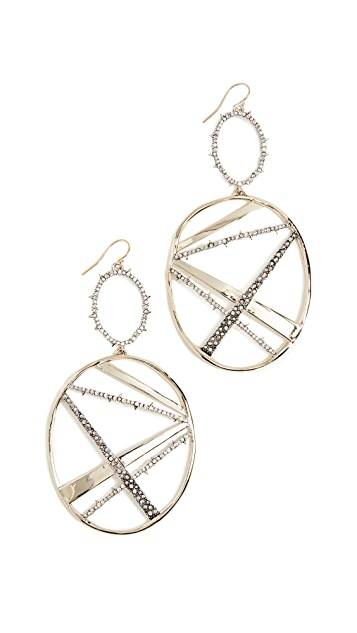 Alexis Bittar Crystal Plaid Oversize Dangling Earrings