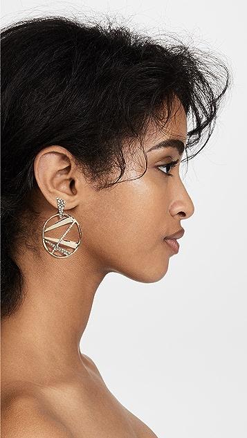 Alexis Bittar Crystal Encrusted Plaid Dangling Post Earrings