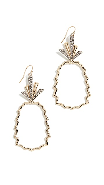 Alexis Bittar Crystal Leaf Pineapple Wire Earrings