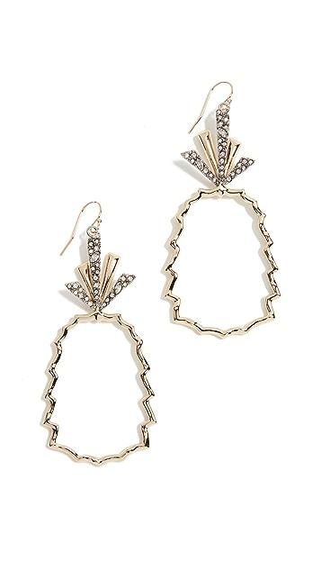 Alexis Bittar Crystal Leaf Pineapple Wire Earrings